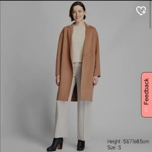Uniqlo cocoon double faced coat wool camel jacket